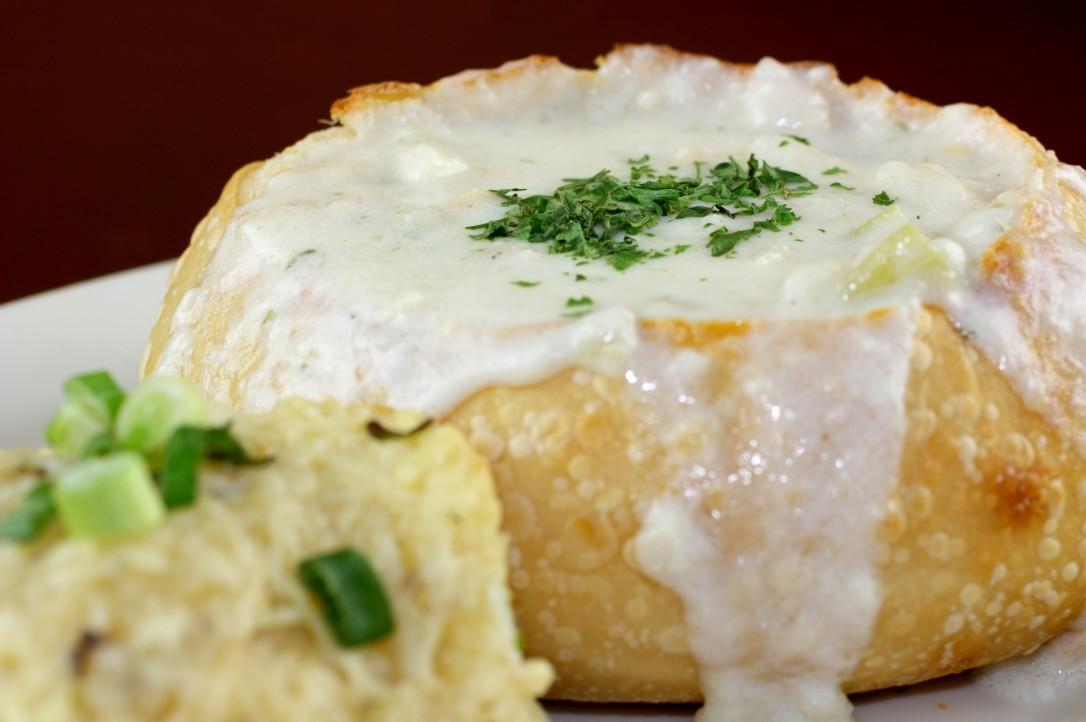 Fresh clam chowder in a crispy sourdough bread bowl, by Fresh Off The Hook, Boise, Idaho