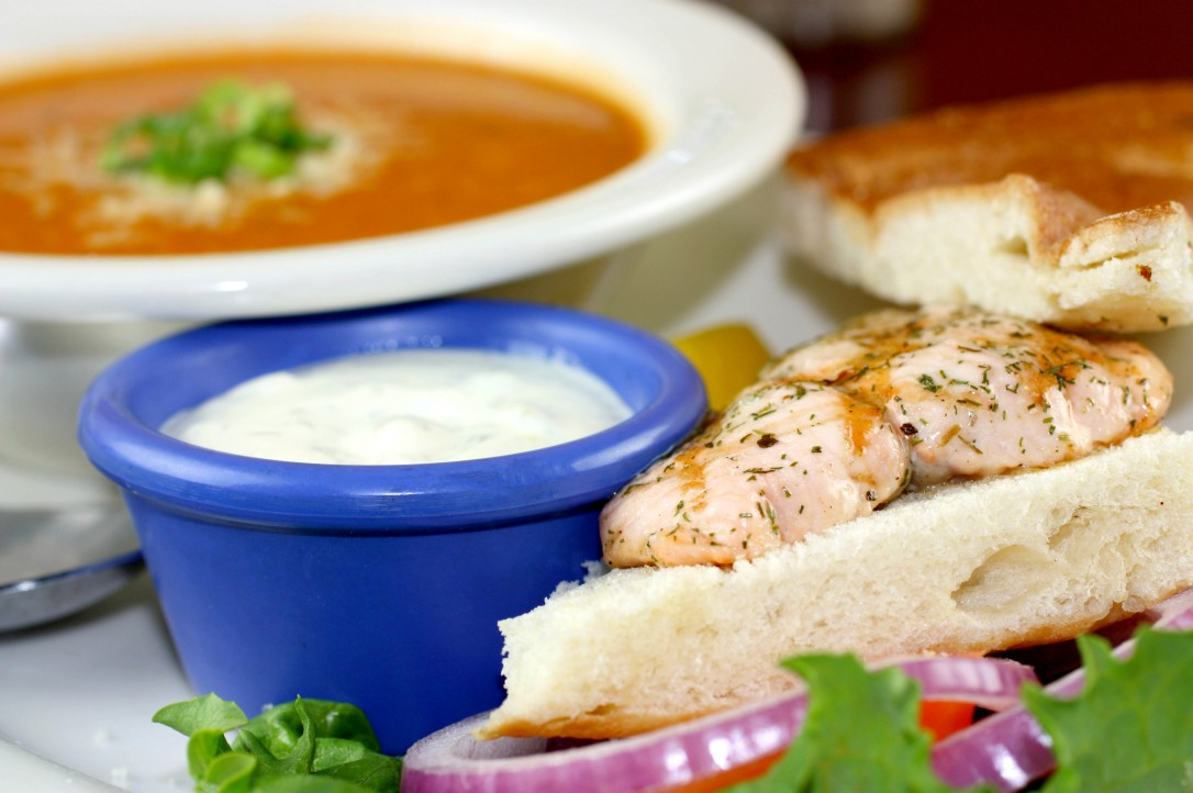 Soup and Half-Grilled Sandwich from Fresh Off The Hook Seafood Restaurant